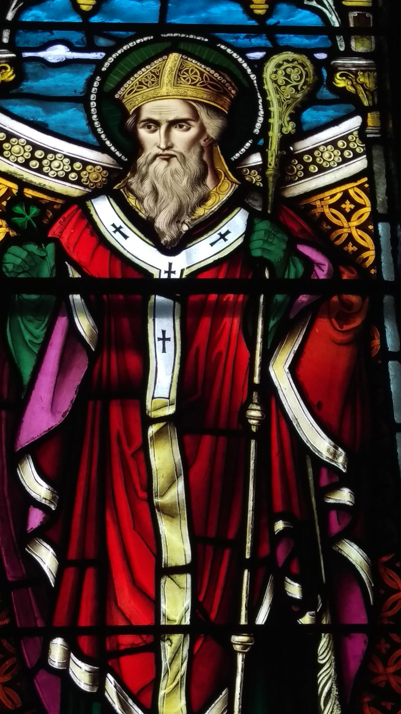 Stained Glass window depicting Saint Patrick, St John the Baptist church, Killeagh, Co. Cork.