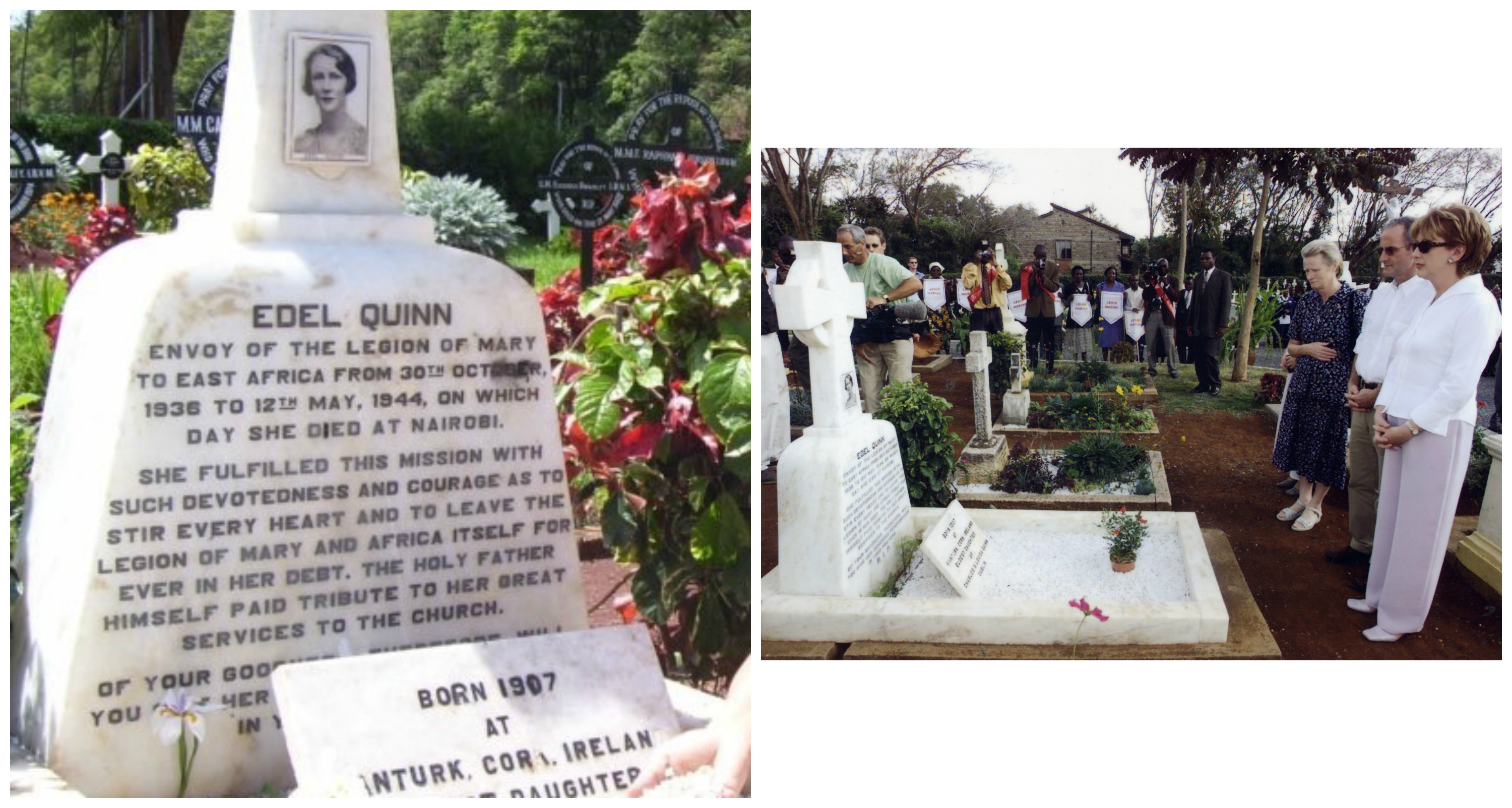 Left: Edel's tombstone in Nairobi, Kenya. Right: President McAleese visiting Edel Quinn's grave in 2001.