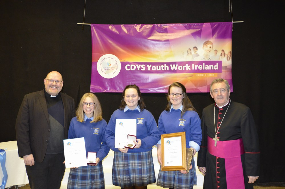 Students from Colaiste Mhuire Buttevant with Fr Tom and Bishop Crean