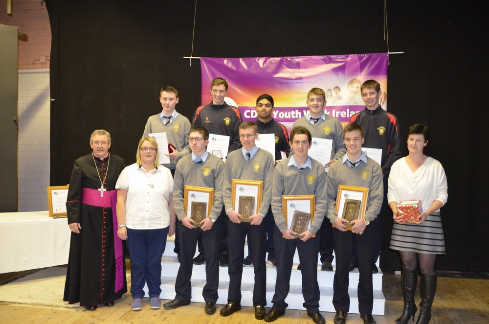 Students from the Patrician Academy with their Award Leader Ms Harte and Bishop Crean