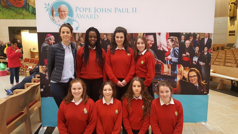 Sacred Heart Clonakilty and their teacher Ms Mangan at the JP II Award 10th Anniversary Celebration Day in Knock