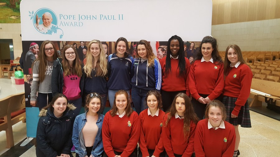 Students from Presentation Convent Secondary School Charleville and Sacred Heart Clonakilty at the JP II Award celebration day in Knock