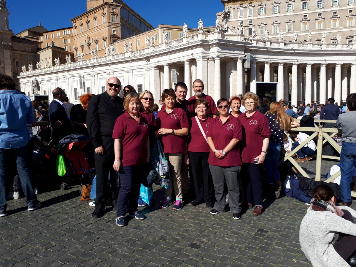 Dicoese of Cloyne JP II Award group waiting for the Angelus in St Peter's Square with Pope Francis